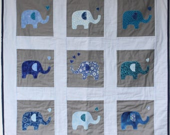 blue baby quilt, appliqued elephants, tummy time, play mat, cot crib bed blanket, blue gingham, baby shower, appliqued hearts, car blanket,