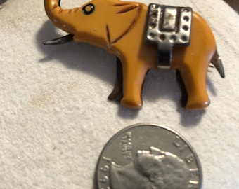 Bakelite & metal elephant pin