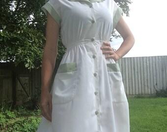 Shirtwaist Vintage Dress- 1950s Style Dress- Vintage Diner Dress - 1950s Diner Dress - Vintage Dress - Shirt Waist Dress - 50s Dress