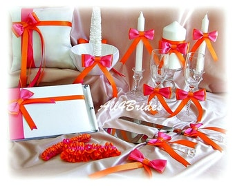 Hot Pink Orange Wedding basket, pillow, guest book, leg garters, cake set, glasses, unity candle set