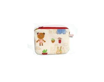 Kawai teddy bear linen purse