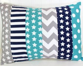 Throw Pillows, Pillow Cover, Nursery Decor, Home Decor, Decorative Pillows, Cushion Cover, 12 x 16, Teal, Blue, Grey, Navy, Star, Baby Boy