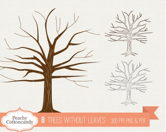 BUY 2 GET 1 FREE 8 Trees without leaves clip art - Bare Tree silhouette - Tree with no leaves clipart -  Tree branches - Fingerprint tree