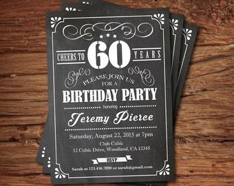 Man 30th birthday invitation retro denim blue red white retro 60th birthday chalkboard invitation cheers to 60 year black and white chalkboard stopboris Image collections