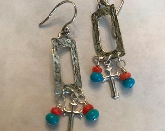 Cross earrings, Christian earrings, turquoise and coral earrings, sterling silver earrings, religious earrings, faith earrings