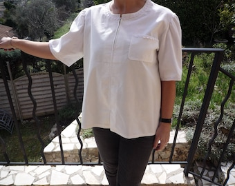 Fine cotton velvet and white lace tunic