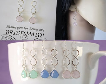 10 Infinity Bridesmaid Earrings, Bridesmaid Gift, Pink, Blue, Green Earrings, Infinity Jewelry, Sterling Silver Earrings, Thank you Cards