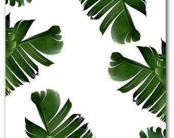 Banana Leaf Print, Abstract Tropical Leaf, Summer Art, Tropical Banana Leaves, Tropical Theme Decor, 8 x 10 inches, Unframed