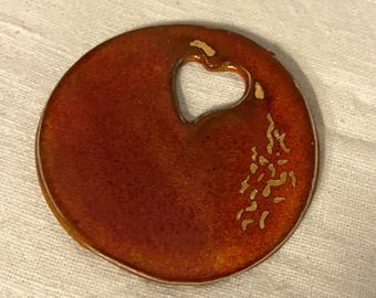 Glazed stoneware pendant, long necklace, stoneware pendant, handmade, gift idea, Valentine's Day.