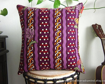 Ethnic Purple Batik Pillow - Colorful Pop Art Throw Cushion Covers with Leaves and Flowers Motif