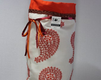 Cream with pink, coral paisley and orange woven fabric gift bag