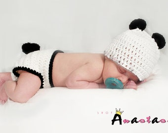 Panda ~ Handmade Crochet Baby Photography Prop for Newborn,  Finished Item ~ Pick your own colour