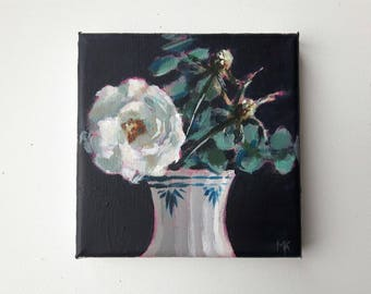original acrylic painting, flower painting, floral painting, tiny painting, small painting, acrylics on canvas, canvas art, bouquet painting