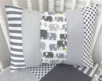 Elephant Pillow Cover, Baby Bedding, Nursery Decor, Cushion Cover, Throw Pillows, Decorative Pillows, 12 x 16, Elephants, Gray, Grey, White