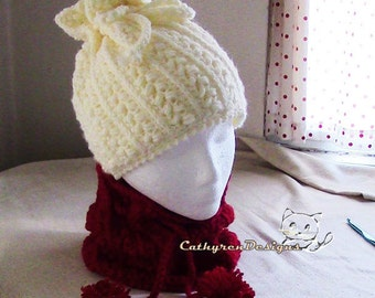 Messy Bun Hat/Neck-Warmer, 5 Sizes Child-Adult, INSTANT DOWNLOAD Crochet Pattern