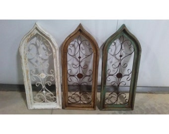 Wooden Arch Window with Metal Scrollwork (3 colors available)