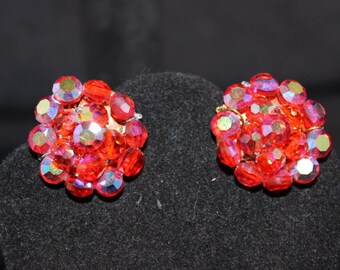 Iridescent Red Aurora Borealis Clip Earrings - Unsigned
