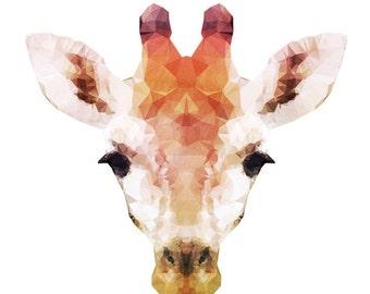 "Geometric Giraffe Watercolor Painting, 8X10"" and 11X14"" Instant Download, Ptintable, Animal Painting, Animal Art, Animal Print"