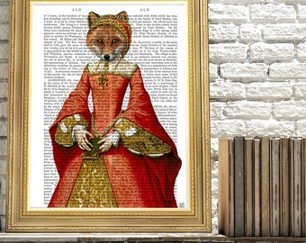 Fox Art - Fox Queen  Fox print fox picture fox illustration fox painting fox nursery art foxy lady gift for mom whimsical animal bedroom art