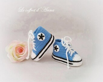 Blue 0-3 months baby Bootie porcelain white Bootie baby converse, knitted baby booties crochet baby booties baby booties wool