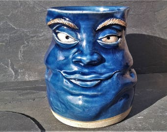 MUG: Large Dark Blue Face Mug #16 |  Wheel Thrown Hand Sculpted  Stoneware Pottery Coffee Mug