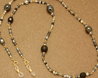 Gypsy spectacle chain - Fantasia of glass beads on silver links