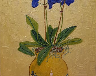 Vase with Blue Orchids