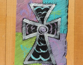 Handpainted Cross on Recycled New Orleans Roofing Slate