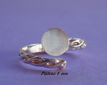 Ring in silver. 925, braided look ring 8 mm tray
