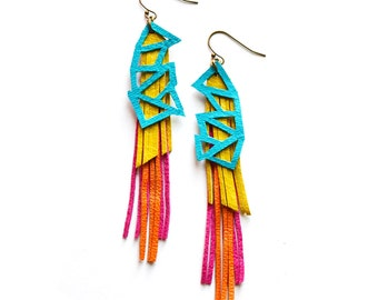 Geometric Earrings, Leather Earrings, Turquoise Earring, Long Earrings, Fringe Earring, Triangle Earring, Statement Earrings, Tassel Earring