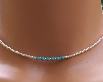 Turquoise and silver choker necklace, womens beaded choker, Bohemian style choker, seed bead choker necklace, teen beaded choker,