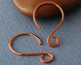 Handmade Copper Hoop Earwire Findings, Hammered Little Swingers, 3 pair Ear Wires