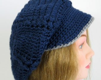 Navy Blue Slouchy Hat Womens Hipster Hat Womens Visor Hat Ready to Ship