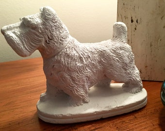 Darling Vintage Westie Scottie Dog | Painted Terra Cotta Scottie Dog Figurine | Terrier Dog Figurine | Home Decor