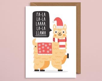 llama christmas card.funny christmas card.fa la la llama.llama card.funny card.animal card.for him.for her.boyfriend.girlriend.wife.husband