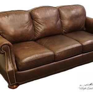BRADINGTON YOUNG Hickory NC Brown Leather Sofa W/ Nailhead Trim