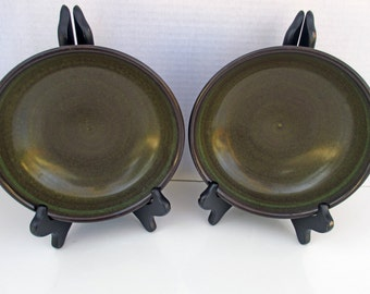 Franciscan China Earthenware - Madiera Shape & Pattern - Brown and Green  Retro - 1970s - Set of 2 RARE Size Cereal Salad or Soup Bowls