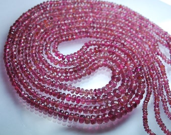 14 Inch-Super-FINEST- Pastel Pink Tourmaline Faceted Rondelles Large 3-4.5mm Large Size. Super Top Quality