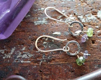 Mixed Metal Peridot and Amethyst Earrings