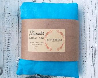 Heat Cold Pack Irish Linen Organic Lavender Wheat Pack Heat Cold Bag Microwaveable Washable Heating Pad Aqua