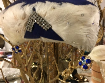 Royal Blue Feather hat