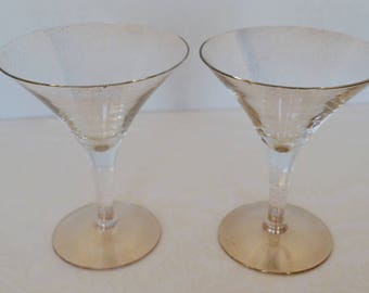 Glamorous, Mid-Century Modern Set of 12 Gold Fleck Martini Glasses by Dorothy Thorpe, Circa 1950 ***Free Shipping w/in USA***