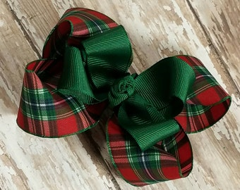 Christmas Plaid Hairbow - Boutique Hair Bow - Red Green and alittle Blue and White Holiday Hair Bows -