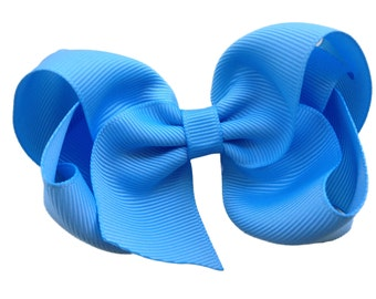 4 inch blue mist hair bow - light blue bow, blue hair bows, 4 inch bows, boutique bows, girls hair bows, toddler bows, girls bows, hair bows