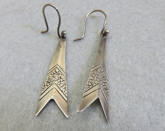 Sterling Silver Triangle Drop Earrings, Vintage Dangles