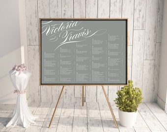 Wedding Seating Chart, Reception Seating Chart, Printable Seating Chart, Seating Chart PDF, Script, Calligraphy, Gray, Typography, Pirouette