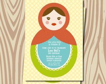 Matryoshka baby shower invitation, matryoshka baby shower, baby shower invitation, nesting doll shower invitation, printable Matryoshka doll