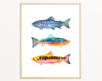 Brightly Colored Watercolor Trout Art Print. Nature Decor. Lakehouse Wall Art. Cottage Art. Watercolor Fish Painting. Fisherman Dad Gift.
