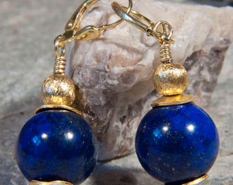 Pendant earrings made of lapis and gold-plated 925 silver
