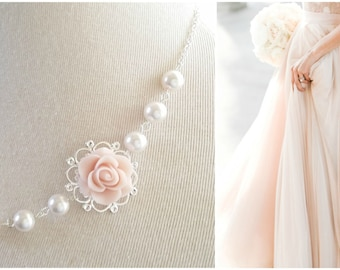 Pink Blush Necklace blush pearls necklace Bridesmaids Gift Pink Blush Flower necklace Rose necklace victorian Vintage style Box message Set